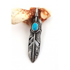 Pendant made of stainless steel as spring with blue stone