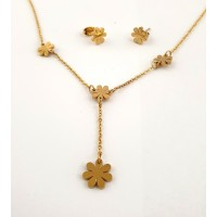Flower set necklace with stud earrings
