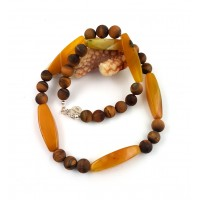 "Necklace ""Herbst"" - made of beautiful agate and matte tiger eye."