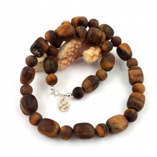 "Necklace ""Herbst"" - made of beautiful matte tiger eye."