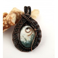 """Pendant  """"Spring"""" - made of tree agate and oxidised copper."""