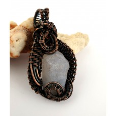 """Pendant  """"Spring"""" - made of chalcedony and oxidised copper."""